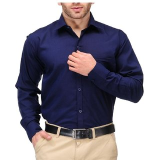 Cotton Blend Shirt Navy Blue Solid