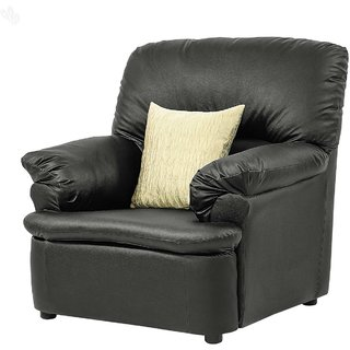 Earthwood -  Single-Seater Sofa with Black Leatherite Upholstery - Premium