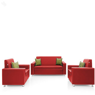 Earthwood -  Fully Leatherite Upholstered Sofa Set 3+1+1 - Premium Florence Red
