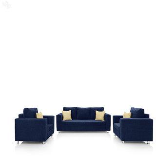 Earthwood -  Fully Fabric Upholstered Sofa Set 3+1+1 - Classic Valencia Navy Blue