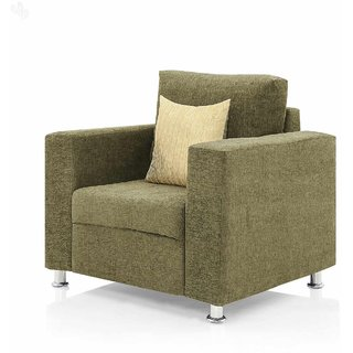 Earthwood -  Fully Fabric Upholstered Single-Seater Sofa - Premium Valencia Beige