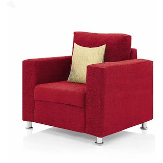 Earthwood -  Fully Fabric Upholstered Single-Seater Sofa - Classic Valencia Red