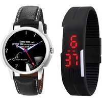 Combo Of Stylish Graphic 1212 Watch And Black Led Watch