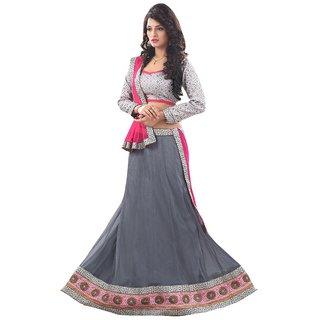 Kapadewala Grey Soft Net Embroidered Lehenga choli