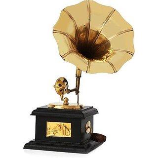 Desi Karigar Handmade Wooden Vintage Gramophone Brass Showpiece 9 Inch Height