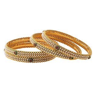 Jay Shreeya Creations Copper Yellow Gold Bangle Set