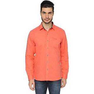 Mens Solid Casual Orange Shirt