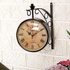 Desi Karrigar Wall Hanging Vintage Style Station Clock Double Sided Size(LxBxH-10x8.5x12.5) Inch