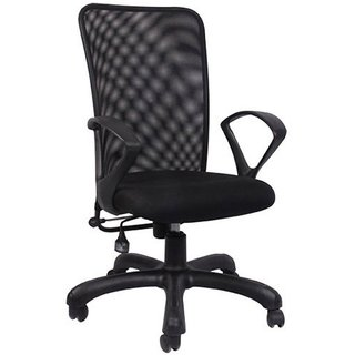 Metal Medium Back Office Chair (Black)