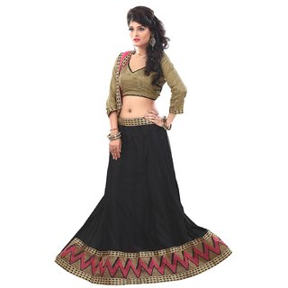 Kapadewala Black  Gold Soft Net Embroidered Lehenga choli
