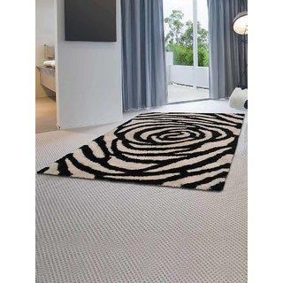Shobha Polyesters Handmade Polyester Rugs Black White K00113