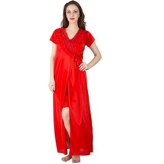 1caec6fce3 Bombshell Red Satin Nightwear 6Pcs Set Of Long Short Nighty Robe Skirt Bra  Thong