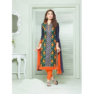 Thankar Navy Blue  Multi Embroidered Cotton Straight Suit (Unstitched)