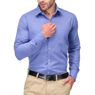 Formals by Koolpals-Cotton Blend Plain Shirt Office Blue Solid