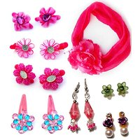 Pink Cute Hair Clips With Earring Combo Pack