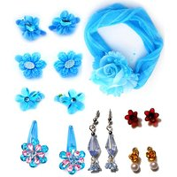 Blue Cute Hair Clips With Earring Combo Pack