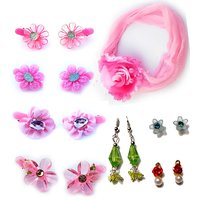 Rose Cute Hair Clips With Earring Combo Pack