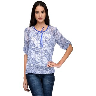 Tunic Nation Womens Floral Print Poly Gerogette Top