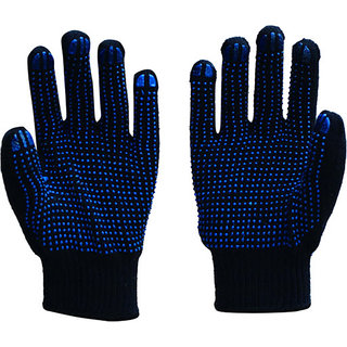 Dotted Knitted Hand Gloves Blue