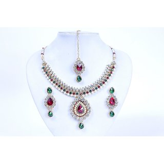 Antique Kundan Traditional Maharani Temple Necklace Set / Jewellery Set with Earrings TIKA for Women