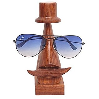 Desi Karigar Handmade Wooden Nose Shaped Spectacle Holder With Hat
