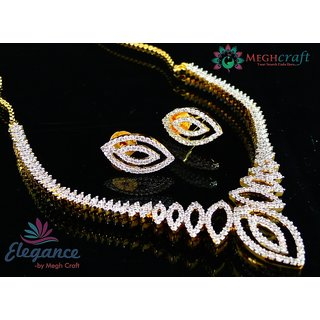 Delicate american diamond jewellery - Indian gold plated necklace set - Bollywood style cz jewelry