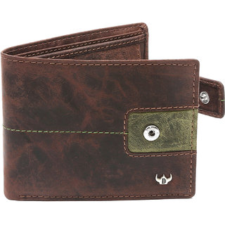 DHide Brown Pure Leather Single fold Wallet for Men