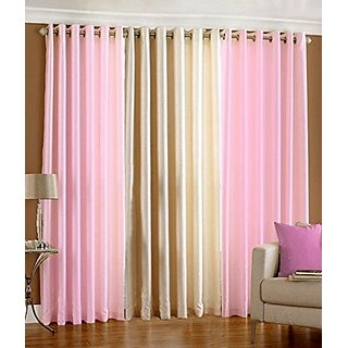 P Home Decor Polyester Long Door Curtains (Set of 3) 9 Feet x 4 Feet, 2 Baby Pink 1 Cream