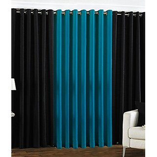 P Home Decor Polyester Window Curtains (Set of 3) 5 Feet x 4 Feet, 2 Black 1 Aqua