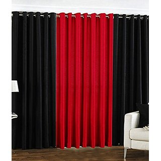 P Home Decor Polyester Long Door Curtains (Set of 3) 9 Feet x 4 Feet, 2 Black 1 Maroon