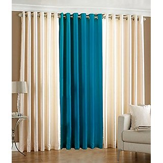 P Home Decor Polyester Window Curtains (Set of 3) 5 Feet x 4 Feet, 2 Cream 1 Aqua