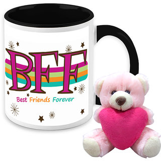 Gift For Friend - HomeSoGood We Are Friends Forever White Ceramic Coffee Mug With Teddy - 325 ml
