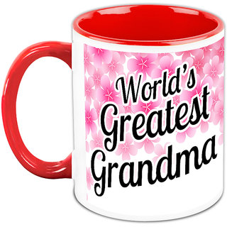 Gift For Grandma - HomeSoGood Worlds Greatest Grandma White Ceramic Coffee Mug - 325 ml