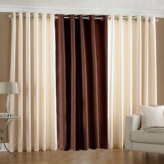 P Home Decor Polyester Long Door Curtains (Set of 3) 9 Feet x 4 Feet, 2 Cream 1 Brown