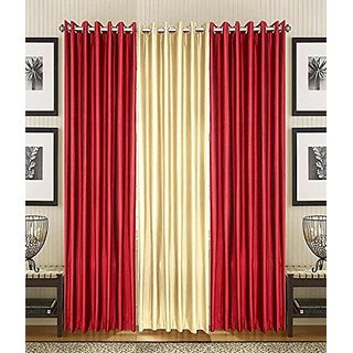 P Home Decor Polyester Window Curtains (Set of 3) 5 Feet x 4 Feet, 2 Maroon 1 Fawn