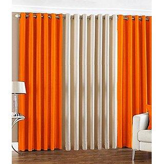 P Home Decor Polyester Long Door Curtains (Set of 3) 9 Feet x 4 Feet, 2 Orange 1 Cream