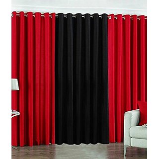 P Home Decor Polyester Door Curtains (Set of 3) 7 Feet x 4 Feet, 2 Red 1 Black