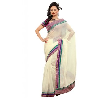 Triveni Multicolor Jute Silk Lace Saree With Blouse