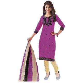 Shree Ganesh Pranjul Cotton Pink Printed Unstitched Churidar Suit Dress Material