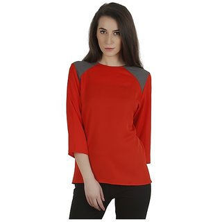 Orange and grey color blocked moss crepe top