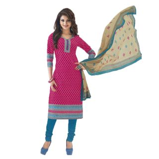 Shree Ganesh Pranjul Cotton Pink Printed Unstitched Churidar Suit Material