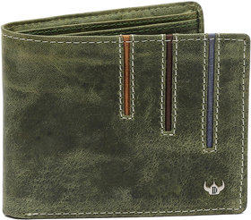 DHide Green Pure Leather Single fold Wallet for Men