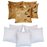 Leaves Patch  Cushion With Fillers Beige (10 Pcs Set)