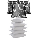 Leaves Patch  Cushion With Fillers Black (10 Pcs Set)