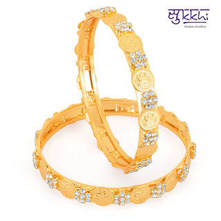 Sukkhi Golden Sliver Gold Plated Bangles For Women