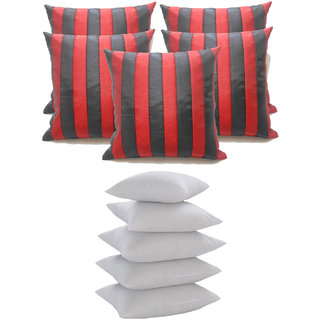 Straight Stripe Cushion With Fillers Black & Red (10 Pcs Set)
