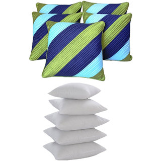 Cross Quilting Cushion With Fillers Green & Comb (10 Pcs Set)