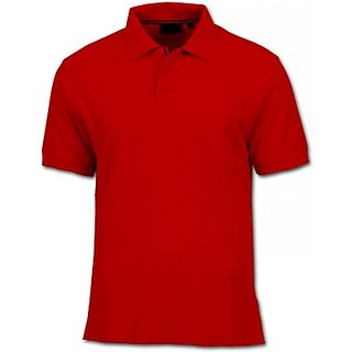 Solid Men Polo TShirt red in color half sleeves material cotton