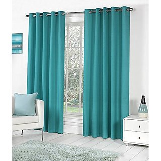 P Home Decor Polyester Long Door Curtains (Set of 2) 9 Feet x 4 Feet, Aqua