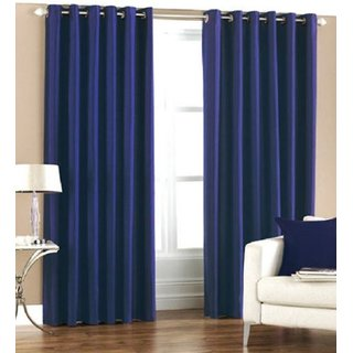 P Home Decor Polyester Window Curtains (Set of 2) 5 Feet x 4 Feet, Blue